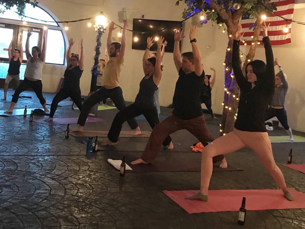 Beer Yoga at The Hofbrauhaus. (Facebook)