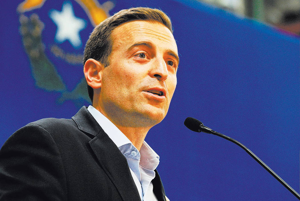 Nevada Attorney General Adam Laxalt announces his bid for governor at Brady Industries's warehouse in Las Vegas, Wednesday, Nov. 1, 2017. (Las Vegas Review-Journal)