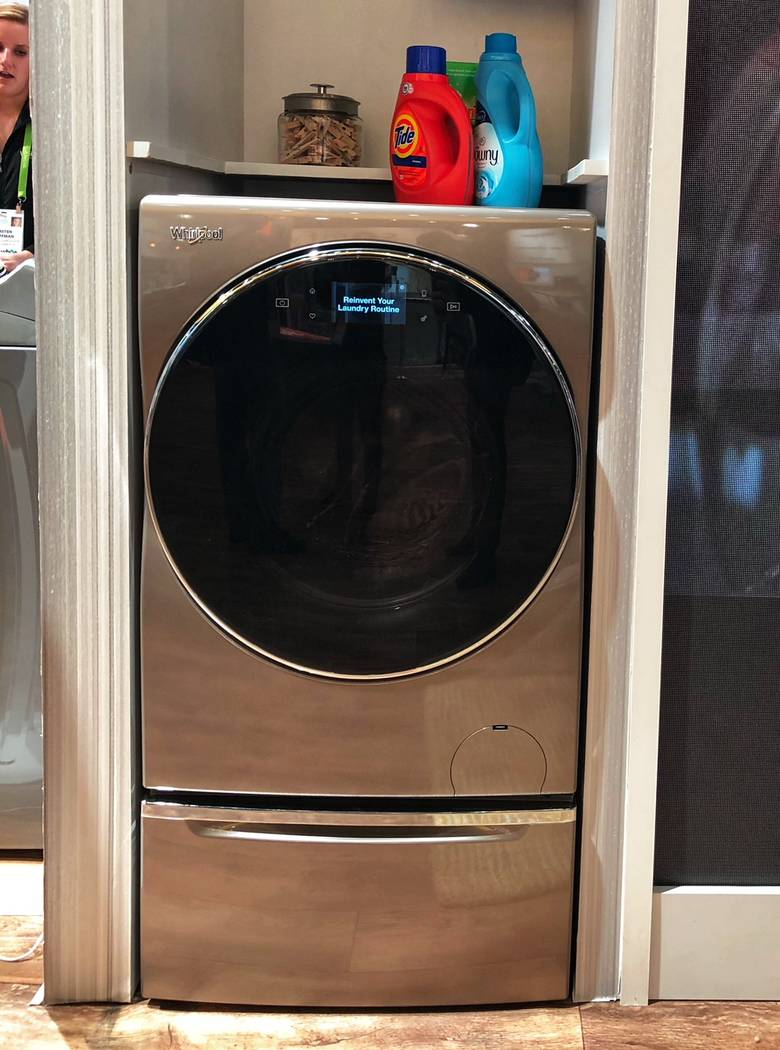The Whirlpool all-in-one washer and dryer will retail for about $1,700. The smart appliance can be operated with help of an app. (Todd Prince/Review-Journal)