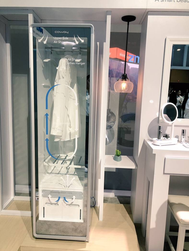 The Air Shower by Coway is on display at CES on Thursday, Jan. 11. (Todd Prince/Review-Journal)