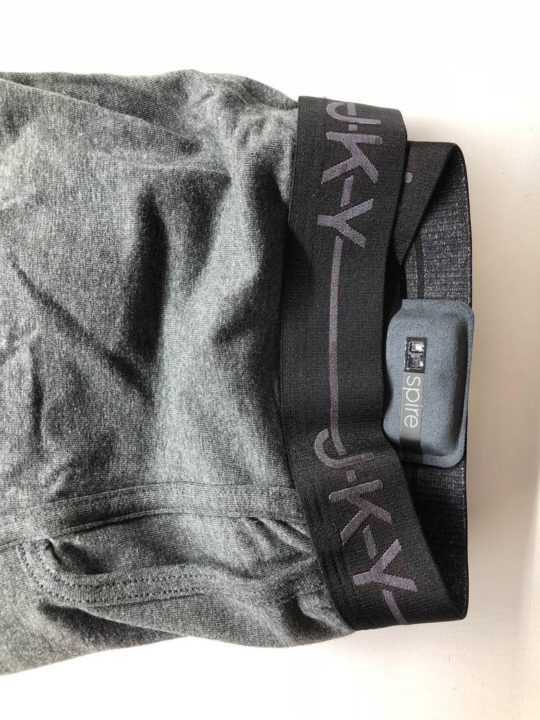 The Spire Health Tags, attached to undergarments, were shown at CES. (Todd Prince/Review Journal)