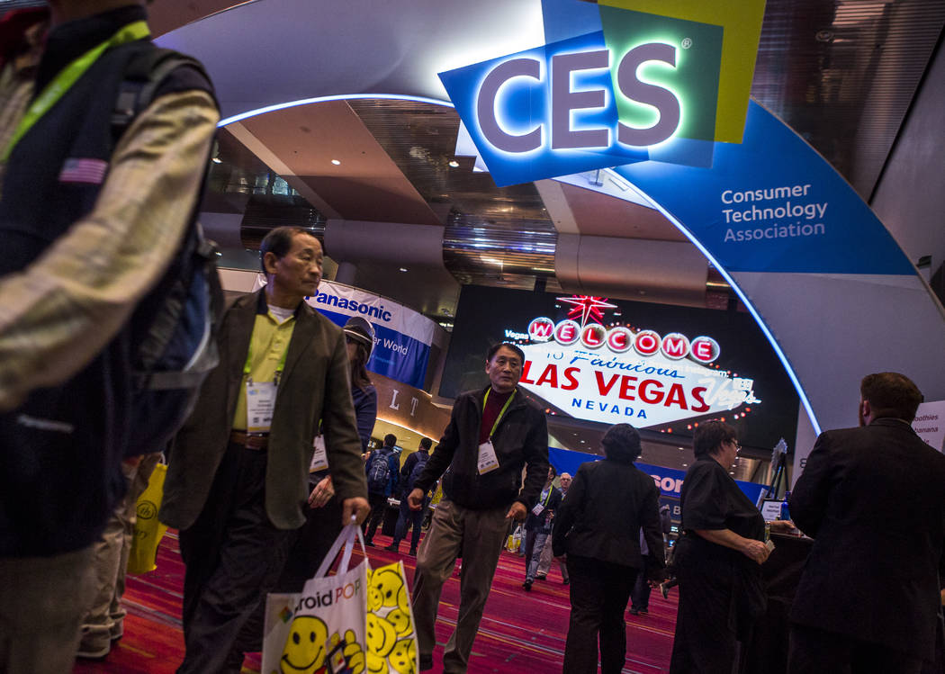 CES attendees walk through the Central Hall of the Las Vegas Convention Center at CES on Friday, Jan. 12, 2018. An estimated 180,000 people attended CES this year. Patrick Connolly Las Vegas Revie ...