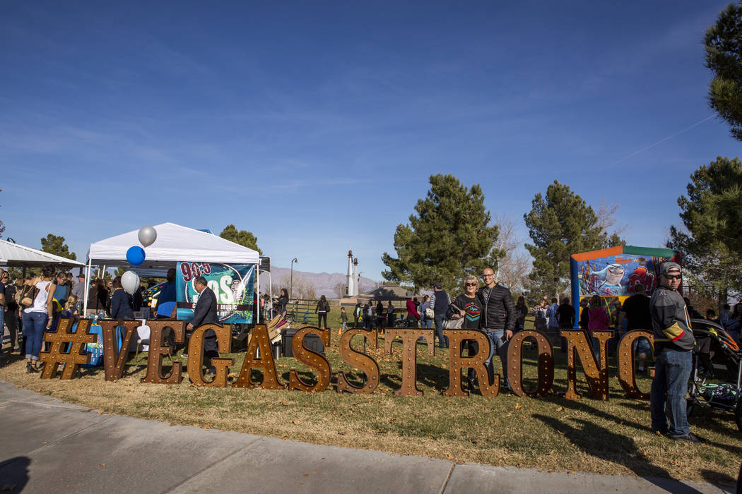 People take photos with large #VegasStrong lettering during a Law Enforcement Appreciation Day event at Police Memorial Park on Saturday, Jan. 13, 2018.  Patrick Connolly Las Vegas Review-Journal  ...