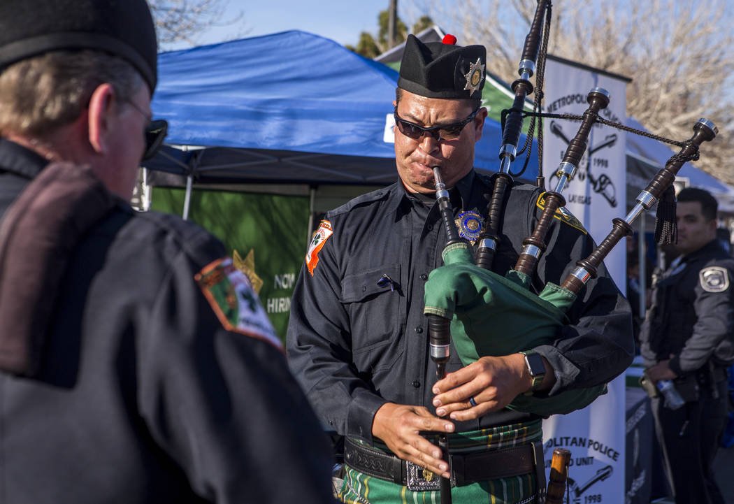 Kenneth Mancour of the Emerald Society of Nevada plays his bagpipes during a Law Enforcement Appreciation Day event at Police Memorial Park on Saturday, Jan. 13, 2018.  Patrick Connolly Las Vegas  ...