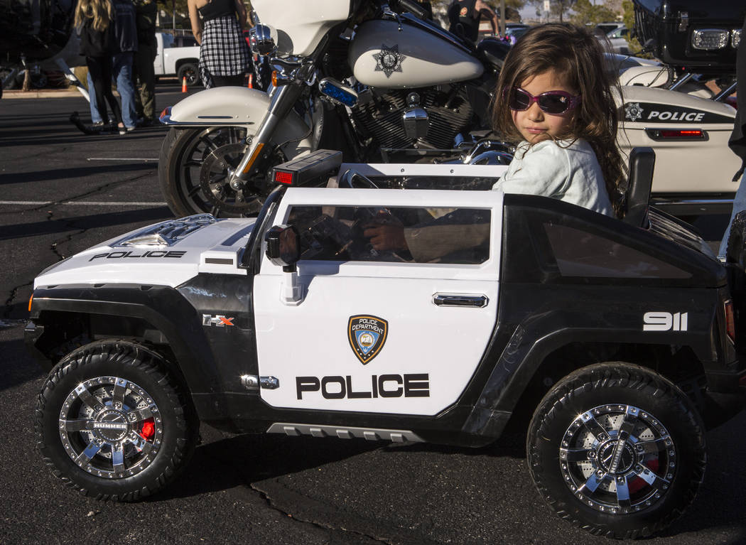 Petronila Blanco, 5, shows off her toy police car during a Law Enforcement Appreciation Day event at Police Memorial Park on Saturday, Jan. 13, 2018.  Patrick Connolly Las Vegas Review-Journal @PC ...