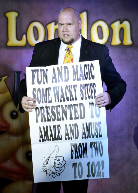 "Comedy magician Adam London performs in ""Laughternoon"" at the D Showroom in the D hotel-casino at 301 Fremont St. in Las Vegas on March 21, 2013. (Bill Hughes/Las Vegas Review-Jo ..."