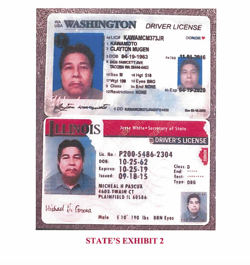 This image shows two fake identification cards the state says were found on Randal Saito, an admitted killer who escaped from a Hawaii psychiatric hospital and flew to California in November. (Haw ...