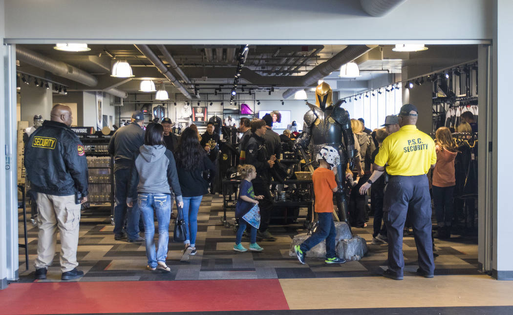 Fans browse the Vegas Golden Knights store at the City National Arena in Las Vegas, Monday, Jan. 15, 2018. Rachel Aston Las Vegas Review-Journal @rookie__rae