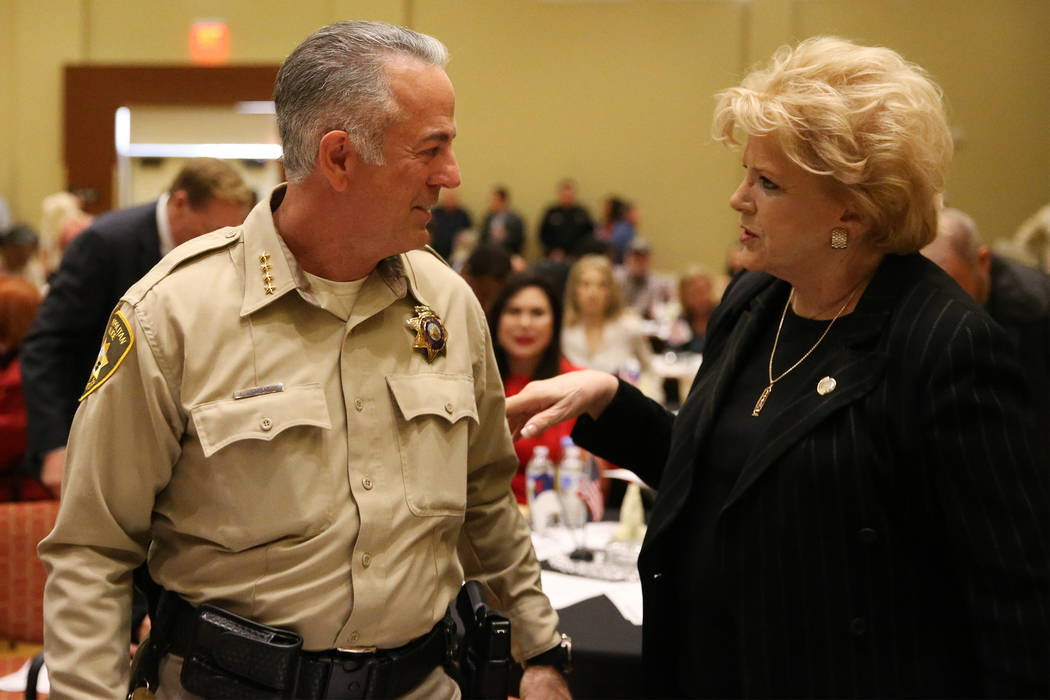 Sheriff Joe Lombardo, left, and Las Vegas Mayor Carolyn Goodman during the City Wide Unity Celebration at the Historic Fifth Street School in Las Vegas, Saturday, Jan. 13, 2018. Erik Verduzco Las  ...