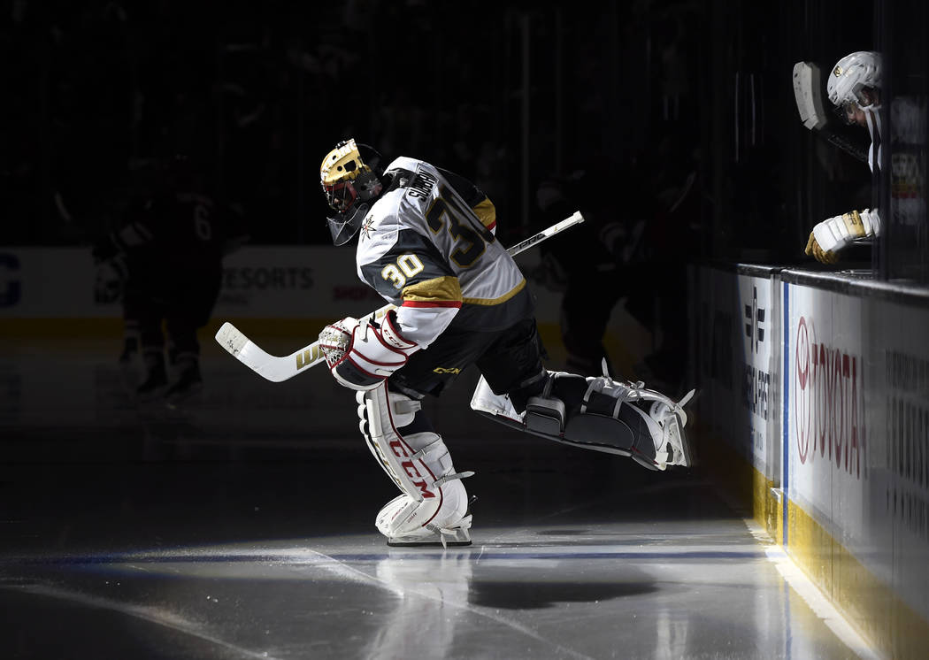 Vegas Golden Knights goalie Malcolm Subban returns to the ice before the third period against the Arizona Coyotes in an NHL hockey game, Sunday, Dec. 3, 2017, in Las Vegas. Vegas won 3-2 in overti ...