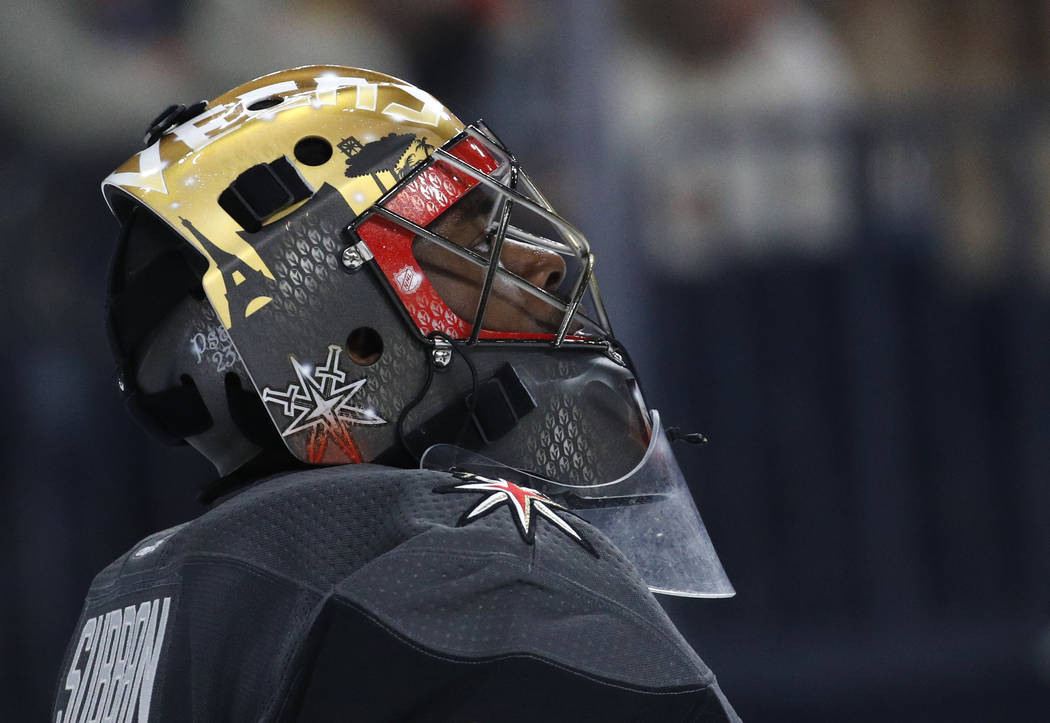 Vegas Golden Knights goalie Malcolm Subban plays against the Florida Panthers during an NHL hockey game Sunday, Dec. 17, 2017, in Las Vegas. (AP Photo/John Locher)