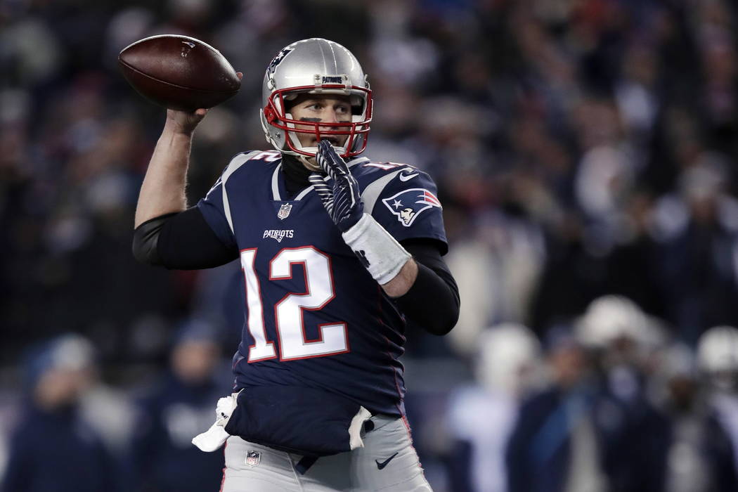 New England Patriots quarterback Tom Brady passes against the Tennessee Titans during the second half of an NFL divisional playoff football game, Saturday, Jan. 13, 2018, in Foxborough, Mass. (AP  ...