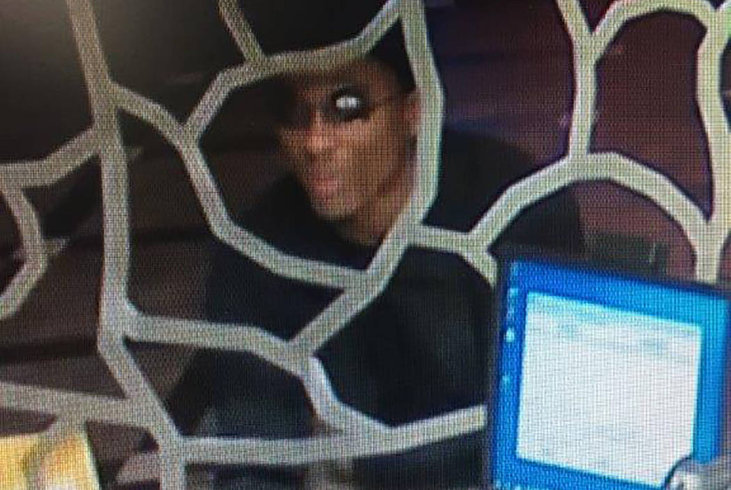 Robbery suspect at Ellis Island Casino and Brewery (still photo from security camera/Las Vegas Metropolitan Police Department)