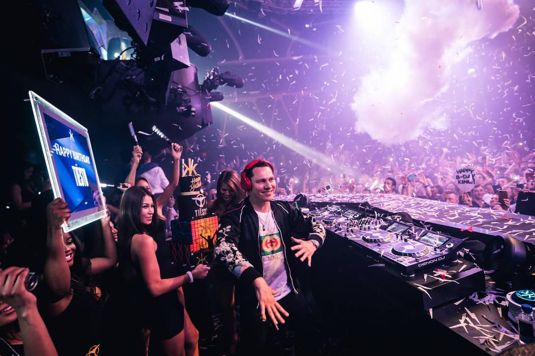 Tiesto is shown at Hakkasan Nightclub at MGM Grand on Saturday, Jan. 13, 2018. (Jordan Loyd)