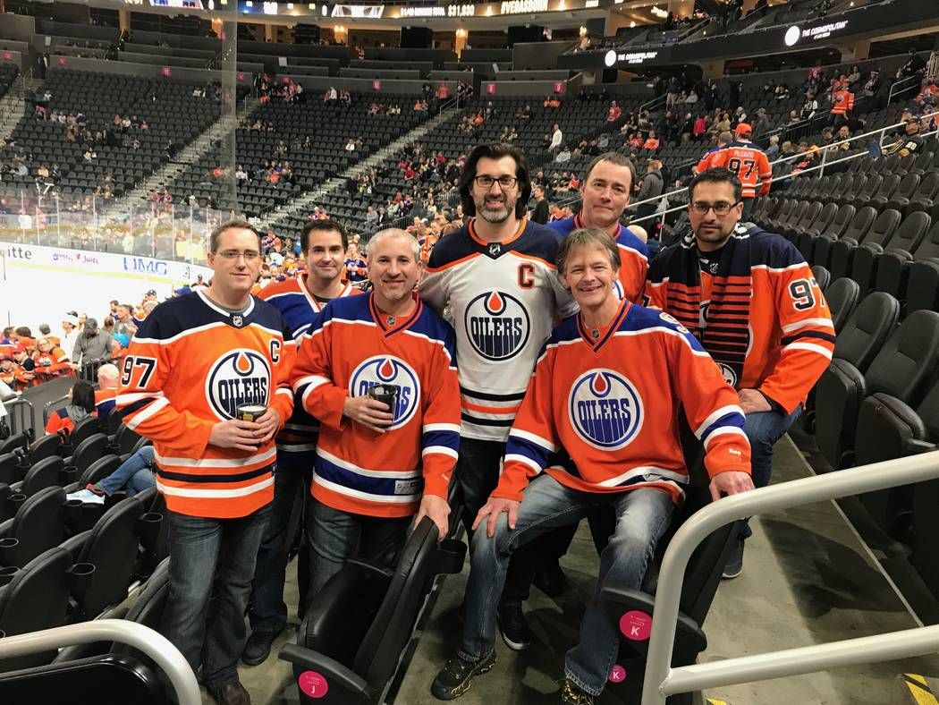V Theater at Miracle Mile Shops at Planet Hollywood headliner Marc Savard, in white jersey, is surrounded by friends who visited from Edmonton for the Oilers-Vegas Golden Knights game at T-Mobile  ...