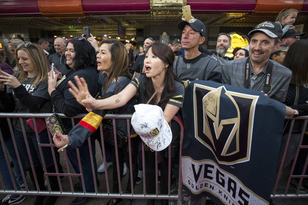 Vegas Golden Knights fans wait for autographs during the team's first fan fest at the Fremont Street Experience in downtown Las Vegas on Sunday, Jan. 14, 2018. Richard Brian Las Vegas Review-Journ ...