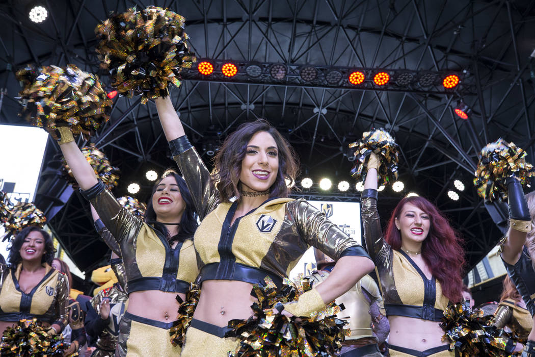 Members of the Knights Crew hype the crowd during the team's first fan fest at the Fremont Street Experience in downtown Las Vegas on Sunday, Jan. 14, 2018. Richard Brian Las Vegas Review-Journal  ...