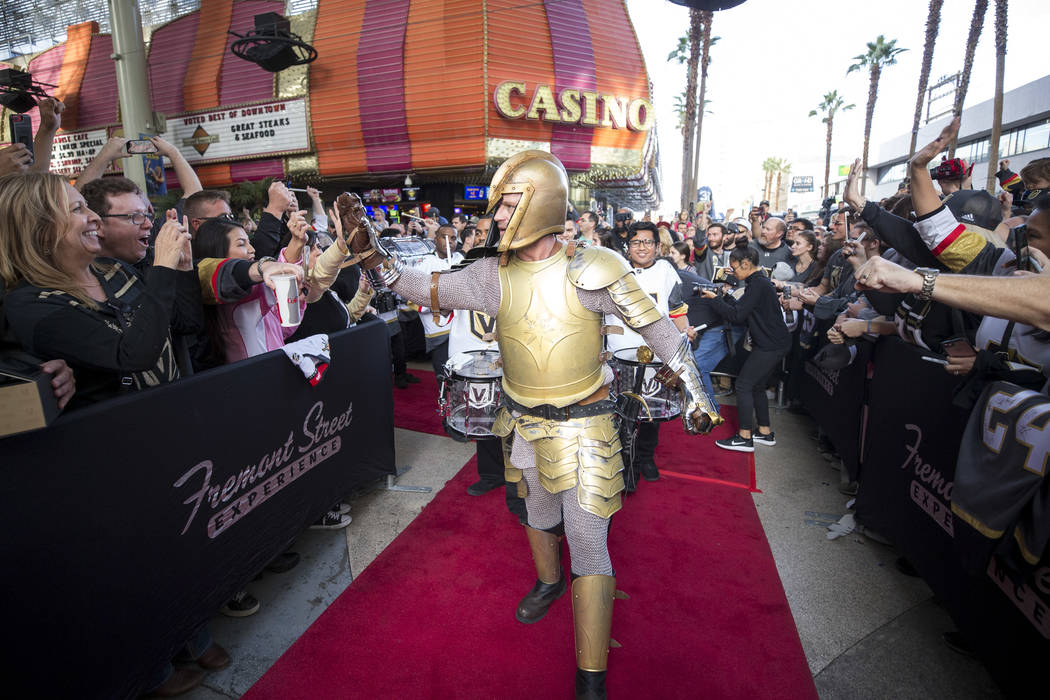 The Golden Knight greets fans during the team's first fan fest at the Fremont Street Experience in downtown Las Vegas on Sunday, Jan. 14, 2018. Richard Brian Las Vegas Review-Journal @vegasphotograph
