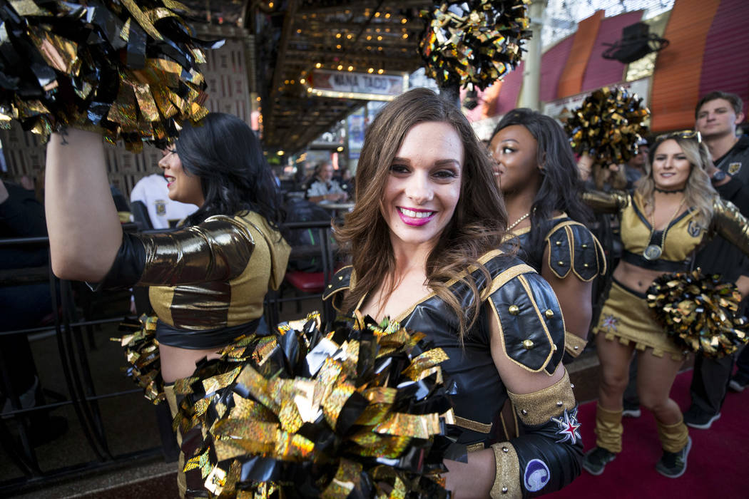 Members of the Knights Crew arrive during the team's first fan fest at the Fremont Street Experience in downtown Las Vegas on Sunday, Jan. 14, 2018. Richard Brian Las Vegas Review-Journal @vegasph ...