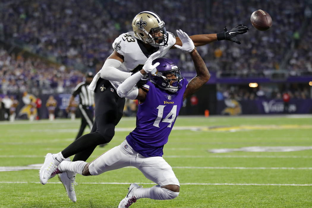New Orleans Saints free safety Marcus Williams (43) breaks up a pass intended for Minnesota Vikings wide receiver Stefon Riggs (14) during the first half of an NFL divisional football playoff game ...