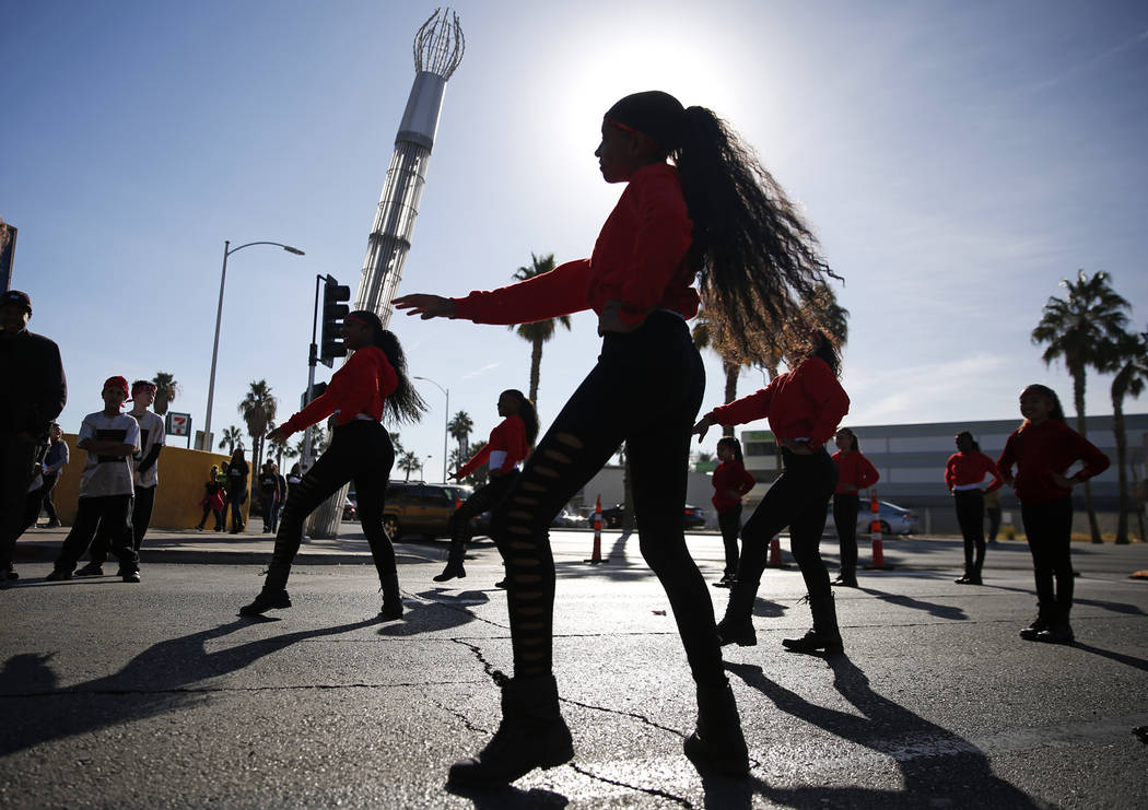 "Victoria Beauzier, a 14-year-old dancer in The Rolle Project, practices before for the 36th annual Dr. Martin Luther King Jr. Parade, themed ""Living the Dream: Building a Bridge to Unity,"" in down ..."
