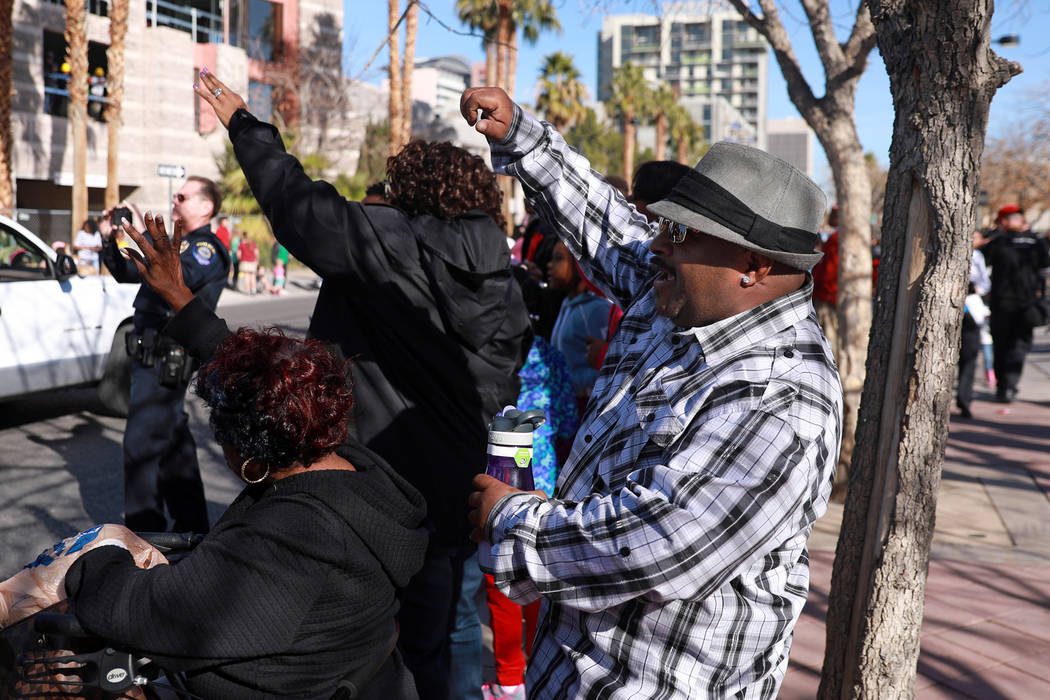 "Curtis Williams dances while attending the 36th annual Dr. Martin Luther King Jr. Parade, themed ""Living the Dream: Building a Bridge to Unity,"" in downtown Las Vegas, Jan. 15, 2018. The parade fe ..."