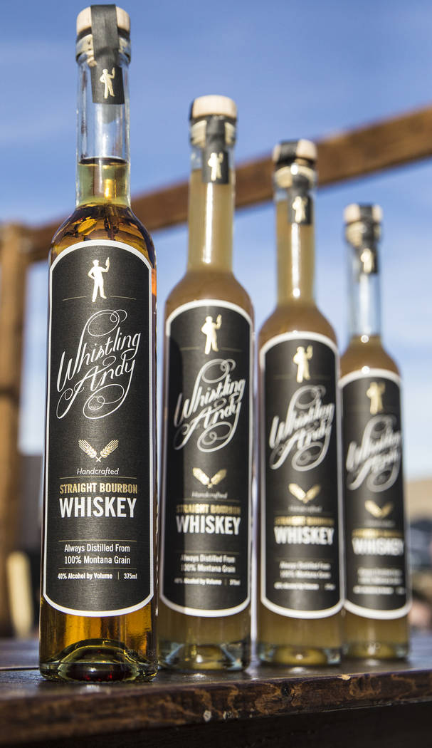 Bottles of Whistling Andy used at Starboard Tack's Bryant Jane and Lyle Cervenka's drink stand during Whiskey in the Wilderness 2 on Sunday, January 14, 2018, at Spring Mountain Ranch State Park,  ...