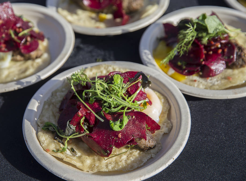 Crescent duck okonomiyaki egg with pickled scallion aioli from chef Brian Howard at Sparrow + Wolf during Whiskey in the Wilderness 2 on Sunday, January 14, 2018, at Spring Mountain Ranch State Pa ...