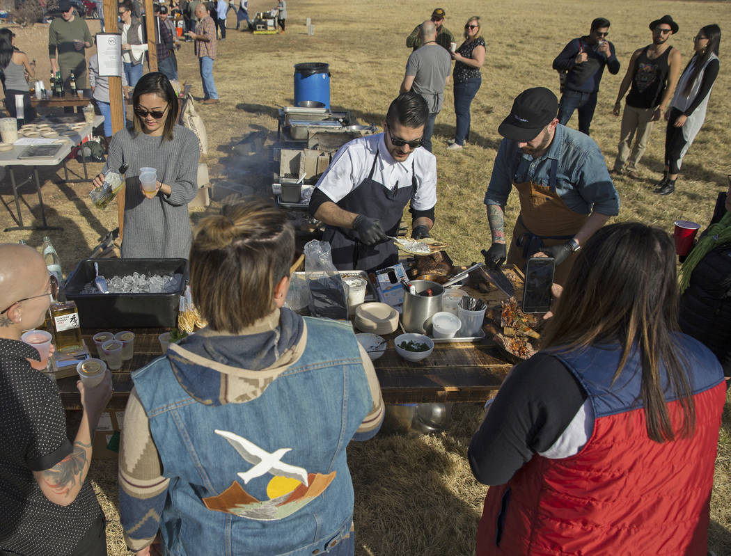 Attendees are served lafah with slow-roasted short ribs from Momofuku during Whiskey in the Wilderness 2 on Sunday, January 14, 2018, at Spring Mountain Ranch State Park, in Las Vegas. Benjamin Ha ...