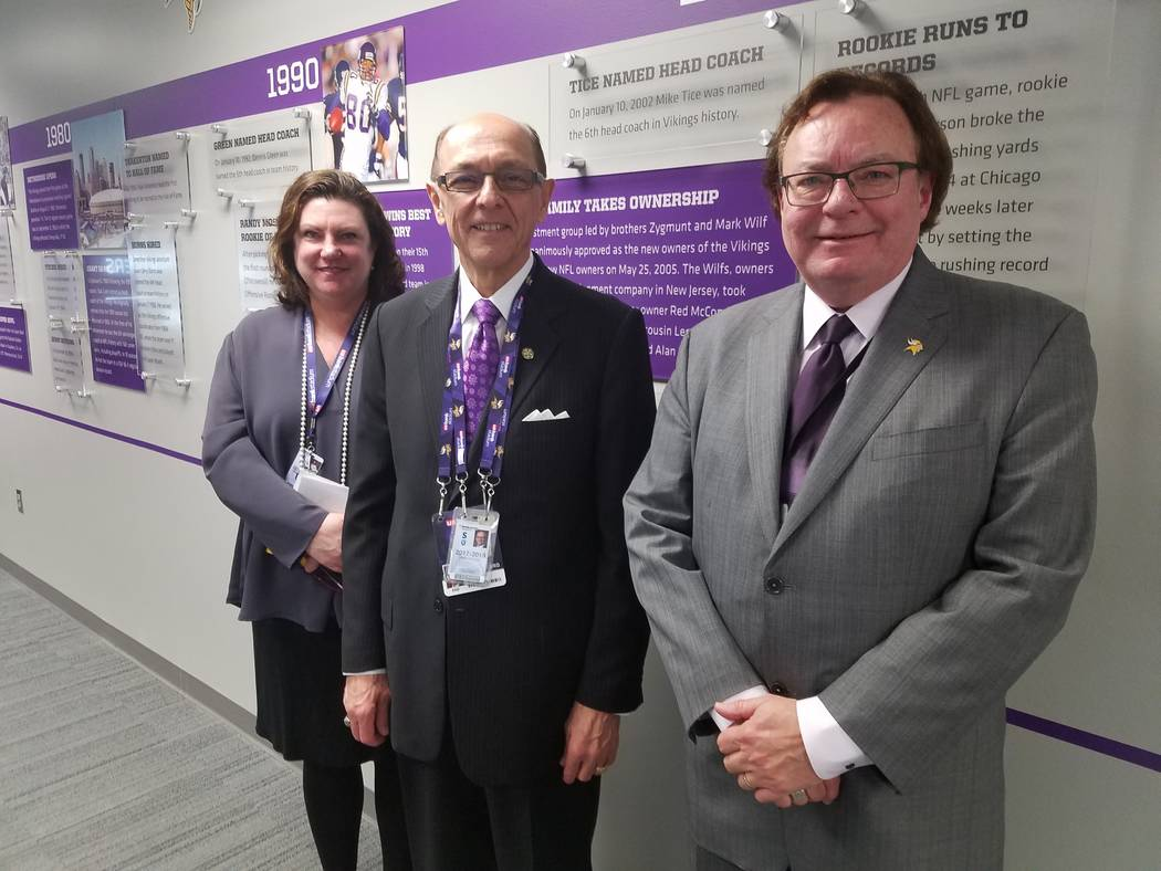 The Minnesota Sports Facilities Authority guides operations of U.S. Bank Stadium in Minneapolis. From left at the media center at the stadium on Dec. 17, 2018, are Jennifer Hathaway, director of c ...