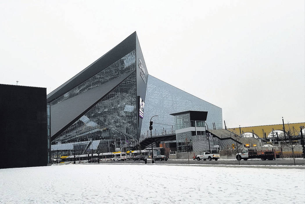 U.S. Bank Stadium, shown Dec. 17, 2018, and built for $1.1 billion by Mortenson Construction of Minneapolis, opened July 22, 2016, roughly four years before the anticipated opening of the Las Vega ...