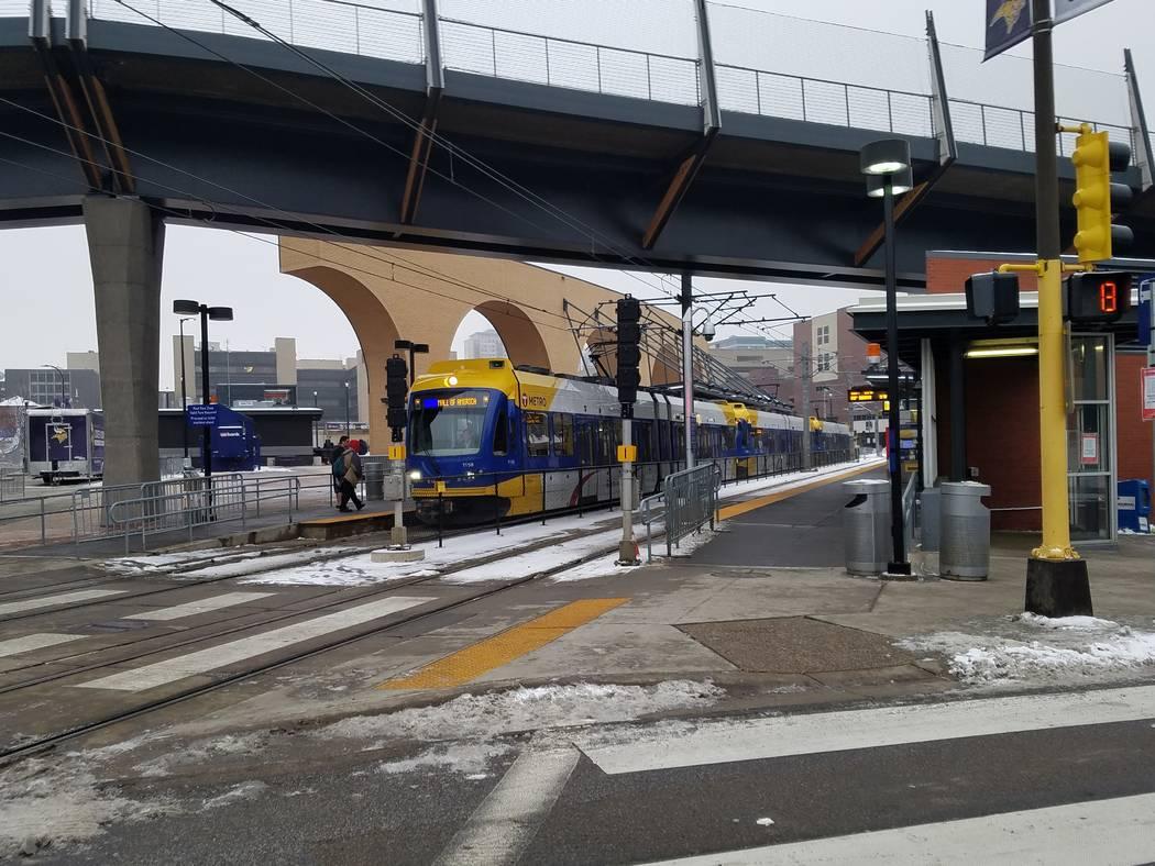 A Minneapolis light-rail train pulls into the U.S. Bank Stadium station on Sunday, Dec. 17, 2017. Richard N. Velotta/Las Vegas Review-Journal