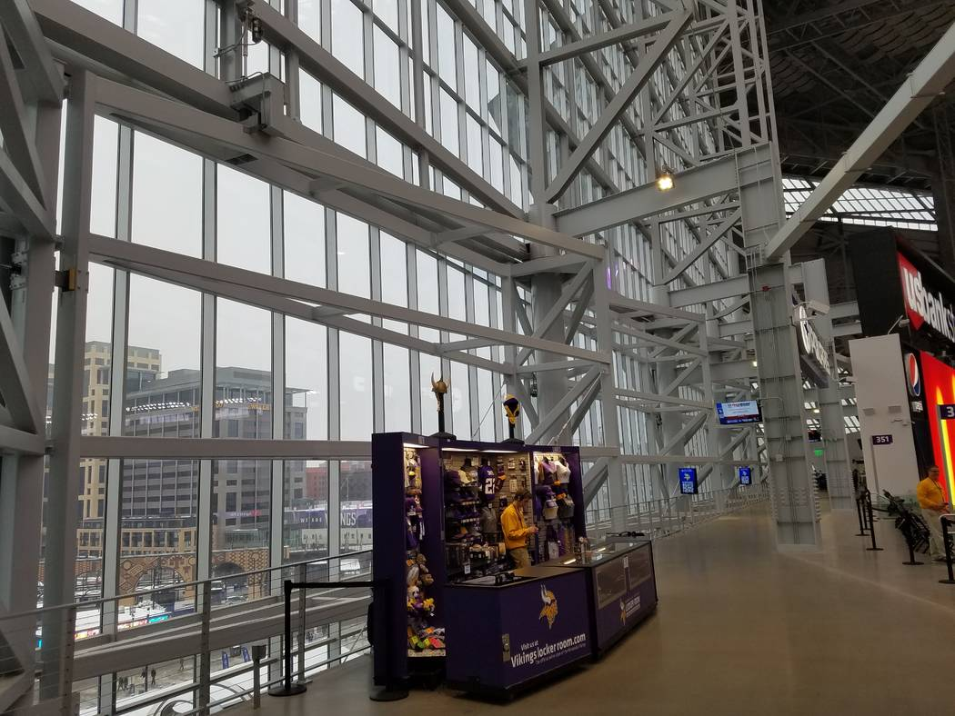 Pivot doors at U.S. Bank Stadium can open on the west end of the stadium, just as a wall on the northeast end of the Las Vegas Stadium will open. Doors were closed because it was too cold on Sunda ...