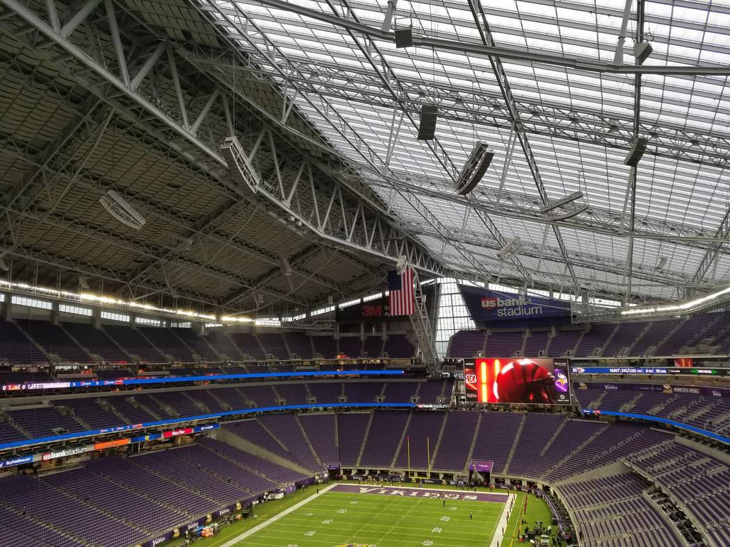 The ETFE roof of U.S. Bank Stadium makes it seem like an outdoor stadium on Sunday, Dec. 17, 2017, prior to the Cincinnati Bengals-Minnesota Vikings game.  Richard N. Velotta/Las Vegas Review-Journal