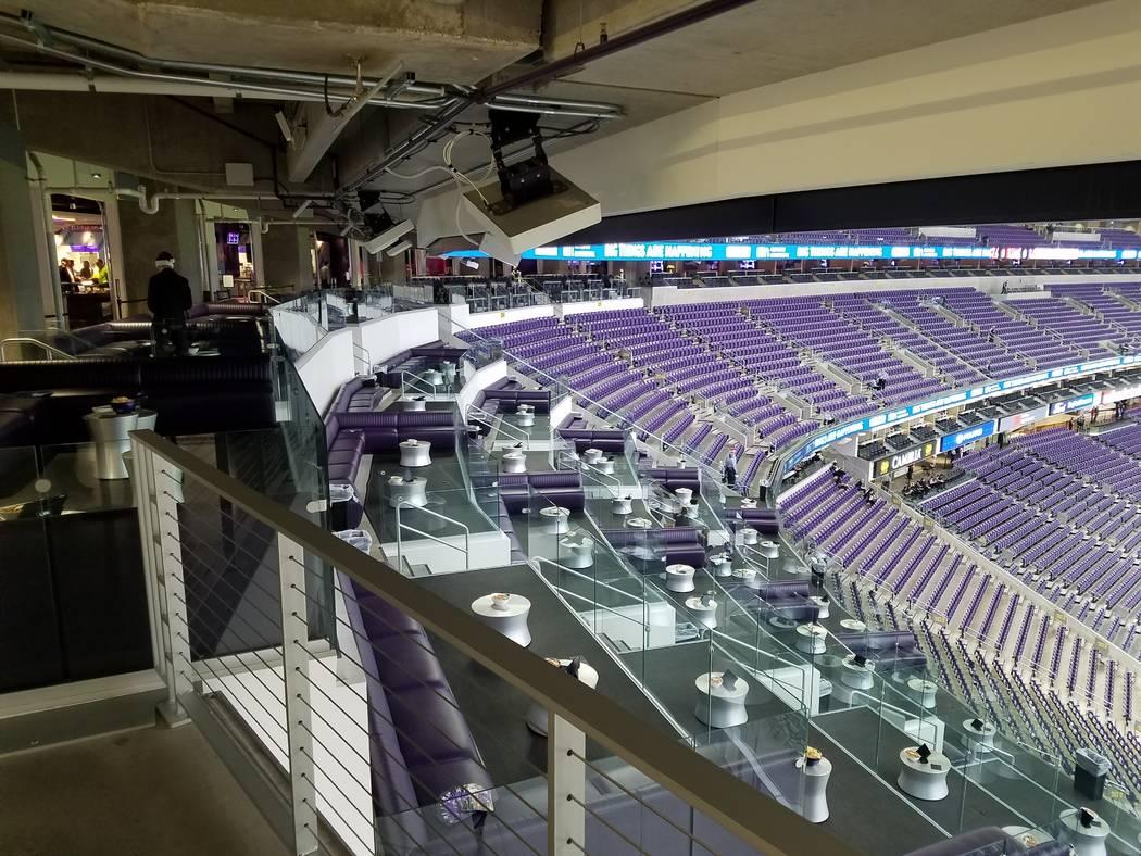 Mystic Lake Casino's Club Purple offers comfortable seating in U.S. Bank Stadium on Sunday, Dec. 17, 2017, prior to the Cincinnati Bengals-Minnesota Vikings game.  Richard N. Velotta/Las Vegas Rev ...