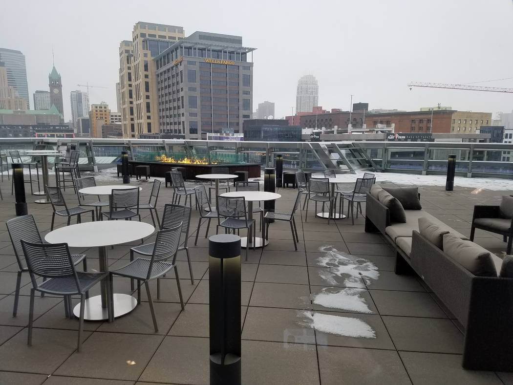 Mystic Lake Casino's Club Purple has an outdoor patio with a view of downtown Minneapolis. There's a firepit for cold days like Sunday, Dec. 17, 2017, prior to the Cincinnati Bengals-Minnesota Vik ...