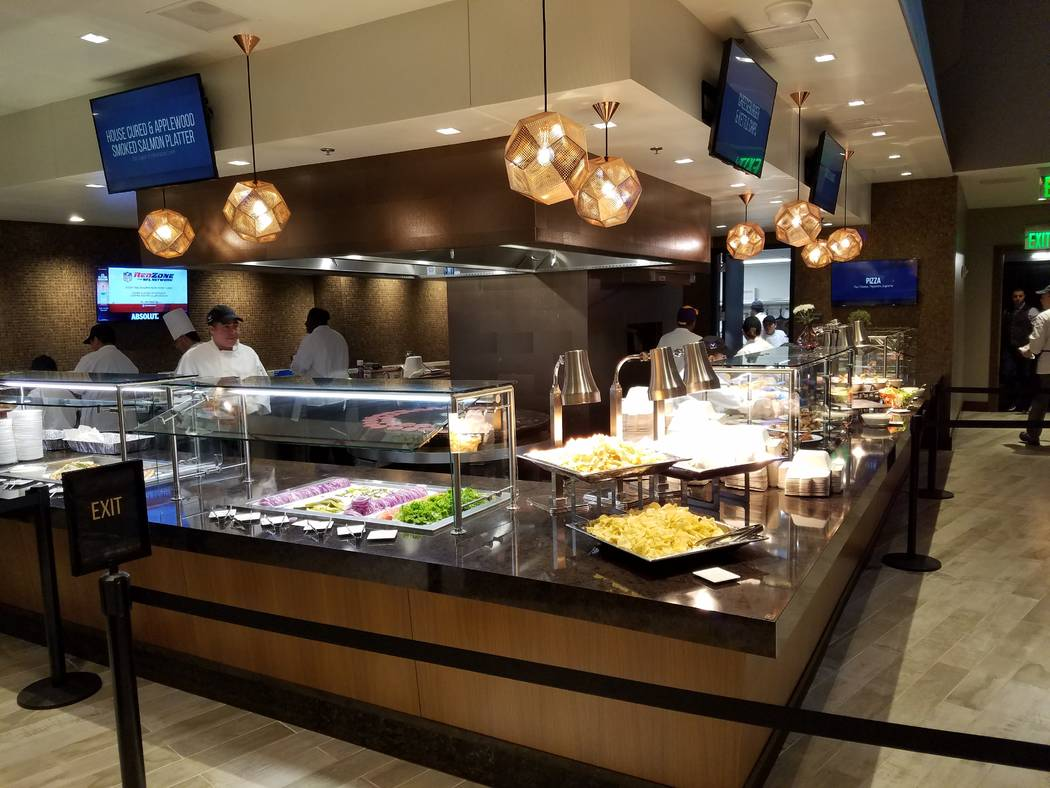 Every club at U.S. Bank Stadium has food offerings, some with Las Vegas-style buffet lines, shown on Sunday, Dec. 17, 2017, prior to the Cincinnati Bengals-Minnesota Vikings game.  Richard N. Velo ...