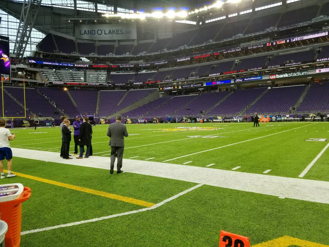 The Minnesota Sports Facilities Authority anticipates someday needing to replace the artificial turf surface of U.S. Bank Stadium, shown on Sunday, Dec. 17, 2017, prior to the Cincinnati Bengals-M ...
