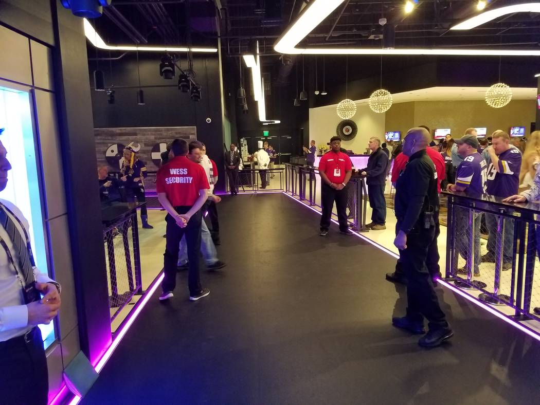 At game time, players walk through Delta Sky360 Club between the locker room and the field on Sunday, Dec. 17, 2017, prior to the Cincinnati Bengals-Minnesota Vikings game.  Richard N. Velotta/Las ...