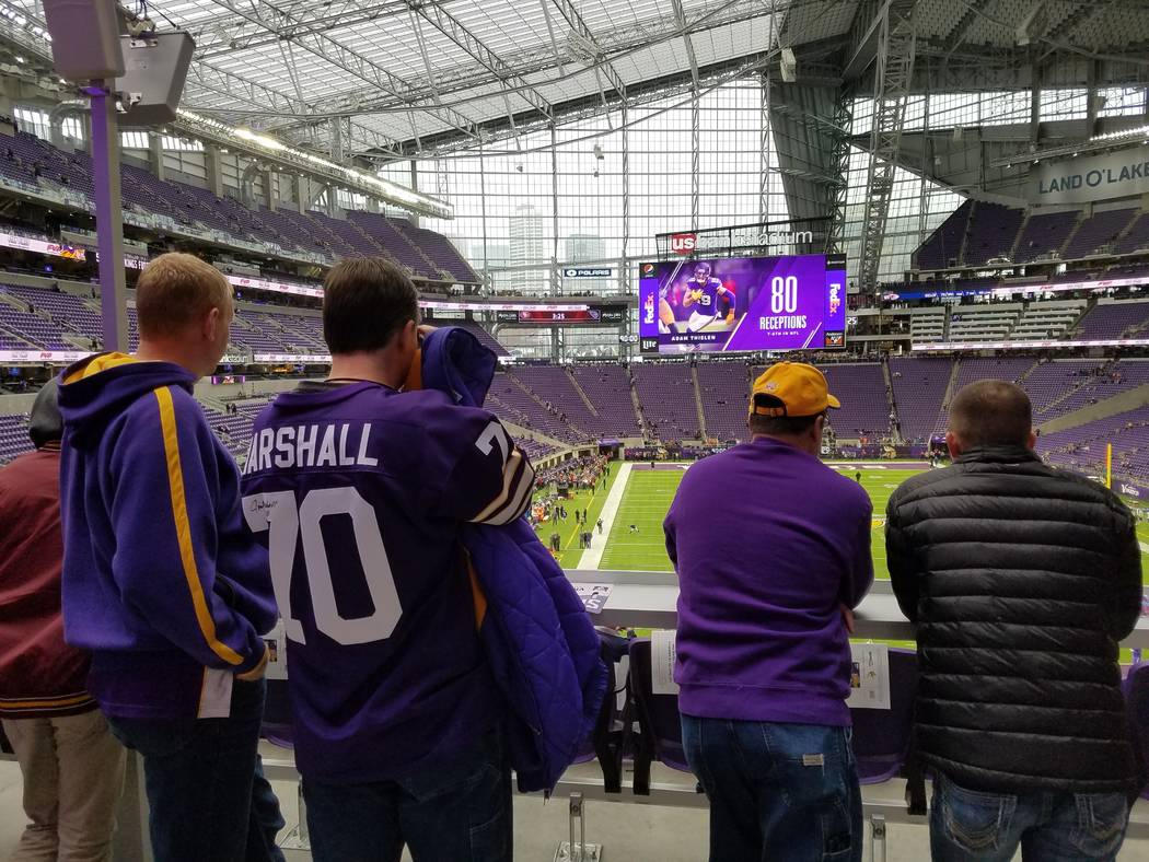 Fans shed their parkas and enjoy the view from the east end of U.S. Bank Stadium on Sunday, Dec. 17, 2017, prior to the Cincinnati Bengals-Minnesota Vikings game.  Richard N. Velotta/Las Vegas Rev ...