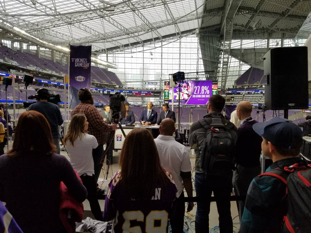 Fans gather to watch a pre-game telecast at the east end of U.S. Bank Stadium on Sunday, Dec. 17, 2017, prior to the Cincinnati Bengals-Minnesota Vikings game.  Richard N. Velotta/Las Vegas Review ...