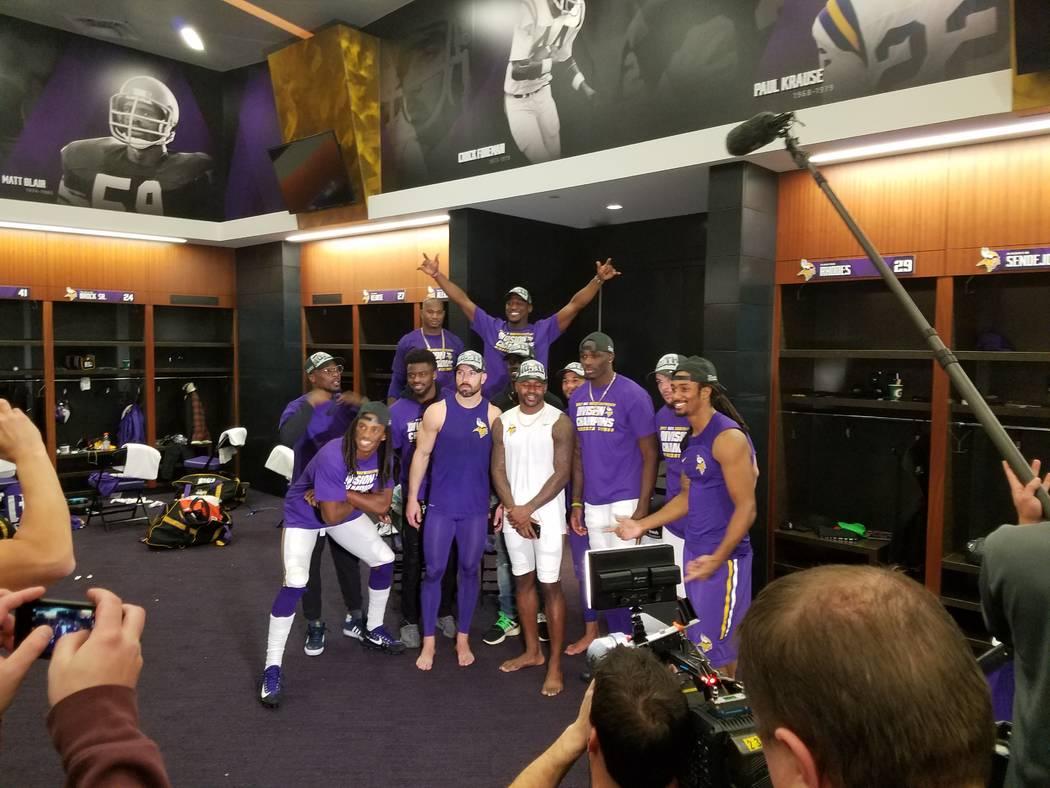Even the locker room has Vikings imagery as members of the team celebrate their victory over the Cincinnati Bengals on Sunday, Dec. 17, 2017.  Richard N. Velotta/Las Vegas Review-Journal