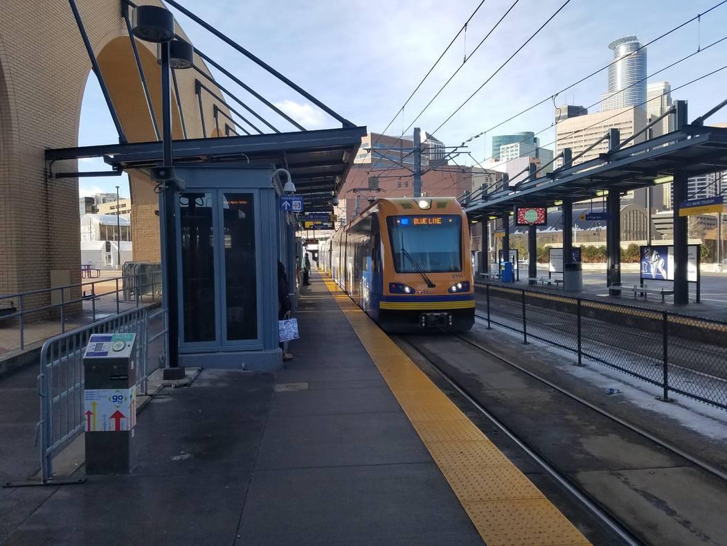 A Minneapolis light-rail train pulls into the U.S. Bank Stadium station on Tuesday, Dec. 19, 2017. Richard N. Velotta/Las Vegas Review-Journal