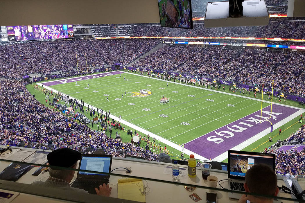 Three rows of reporters, about 150 journalists, have a direct view of the field and replay screens from the press box at U.S. Bank Stadium on Sunday, Dec. 17, 2017, prior to the Cincinnati Bengals ...