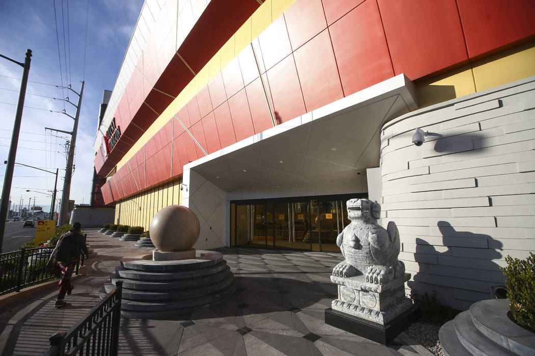 The exterior of Lucky Dragon, which shut down gaming and casino restaurant operations in early Jan., in Las Vegas on Monday, Jan. 15, 2018. (Chase Stevens/Las Vegas Review-Journal) @csstevensphoto