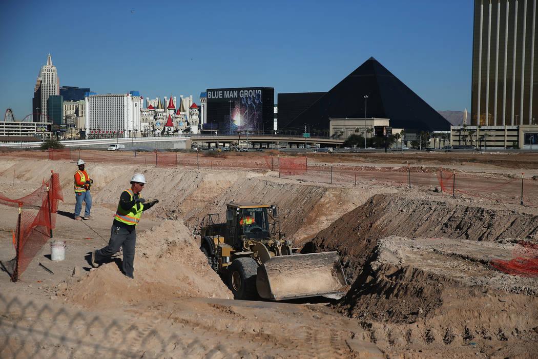 The scene at the Raiders stadium site in Las Vegas, Tuesday, Dec. 12, 2017. (Erik Verduzco, Las Vegas Review-Journal)