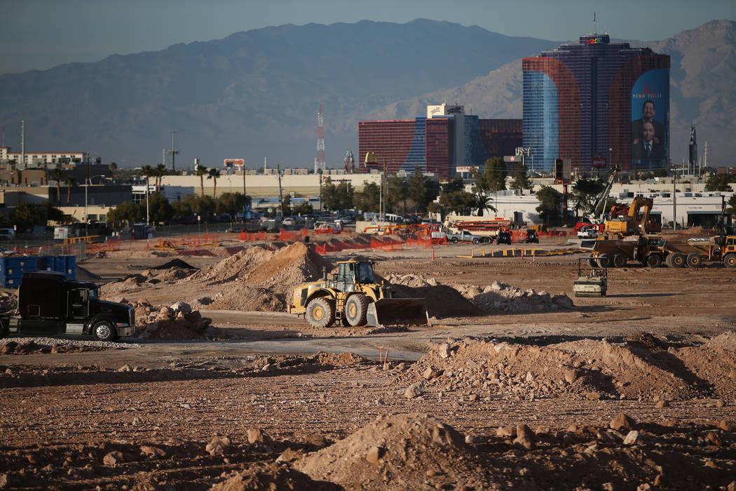 The site of the future Raiders football stadium in Las Vegas, Tuesday, Jan. 16, 2018. Erik Verduzco Las Vegas Review-Journal @Erik_Verduzco
