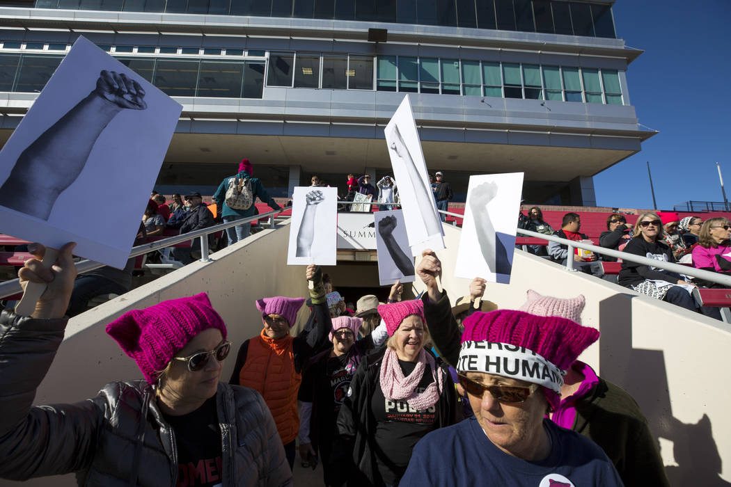 People participate in the Women's March at Sam Boyd Stadium in Las Vegas on Sunday, Jan. 21, 2018. Richard Brian Las Vegas Review-Journal @vegasphotograph