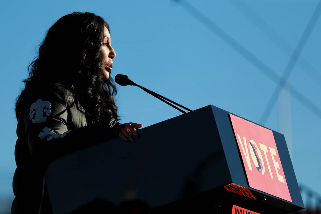 Cher addresses the crowds during the Power to the Polls event, hosted by the Women's March, at the Sam Boyd Stadium in Las Vegas, Sunday, Jan. 21, 2018. The event, which served as an advocacy tool ...
