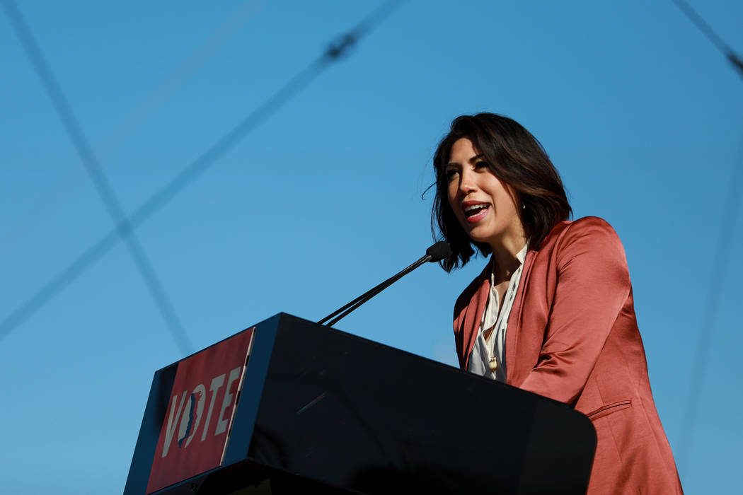 Idaho State Rep. Paulette Jordan addresses the crowd during the Power to the Polls event, hosted by the Women's March, at the Sam Boyd Stadium in Las Vegas, Jan. 21, 2018. The event, which served  ...